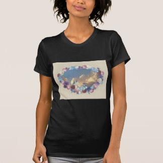 titmouse couple in floral wreath tshirt