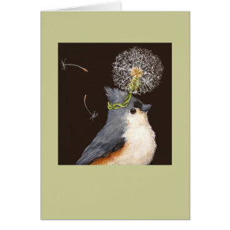 titmouse with dandelion card Leah