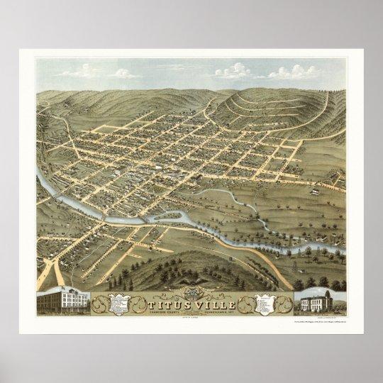 Titusville, PA Panoramic Map - 1871 Poster