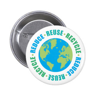 TJED Reduce Reuse Recycle Globe 6 Cm Round Badge
