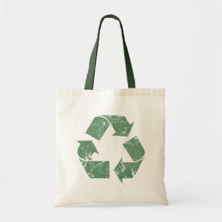 TJED Vintage Green Recycle Sign Budget Tote Bag