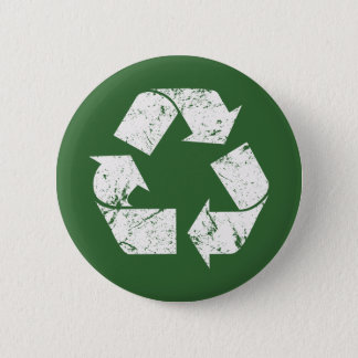 TJED Vintage White Recycle Sign On Green 6 Cm Round Badge