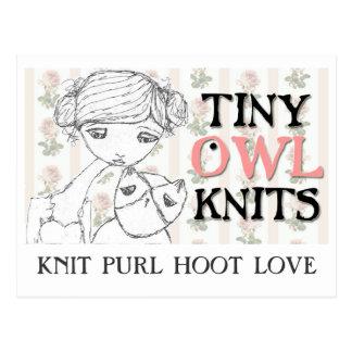 TKYA knit purl hoot love postcard