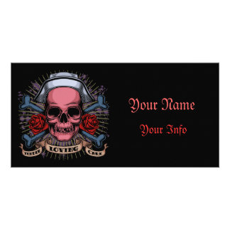 TLC Nurse Skull Customized Photo Card