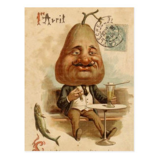 to 1er April to pear Postcard