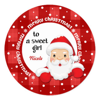 To a Sweet Girl from Santa Claus. Christmas Card