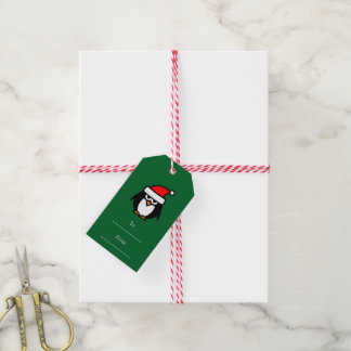 To and from Christmas gift labels with penguin