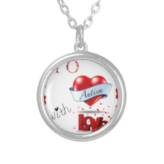 To Autism WIth Love Logo Round Pendant Necklace