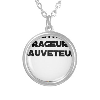 TO BE BORN ANGRY RESCUER - Word games Silver Plated Necklace