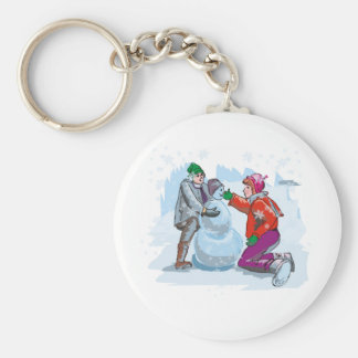 To Build a Snowman Basic Round Button Key Ring