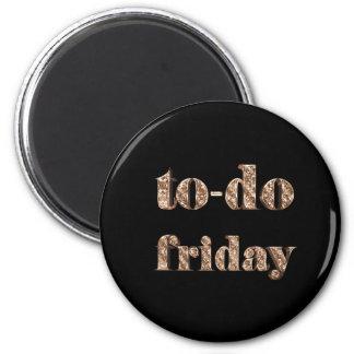 To-do Friday Elegant Typography Black Gold Magnet