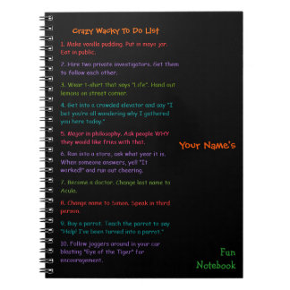 To Do List Custom Personalized Kids Fun Notebook