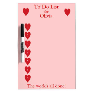 To Do List for children  (red hearts on pink) Dry Erase Board