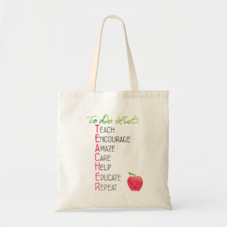 To Do List for Teachers Apple Typography Tote Bag
