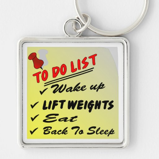 To Do List Wake Up Lift Weights Eat Back To Sleep Keychains