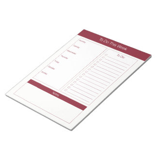 To Do This Week - Weekly Planner - Wine Notepad