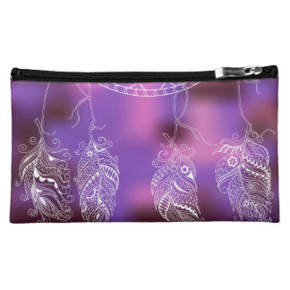 to dreamcatcher with feathers makeup bag