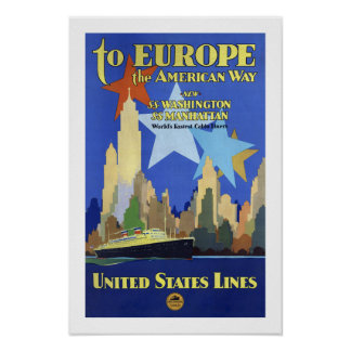 To Europe The American Way Poster