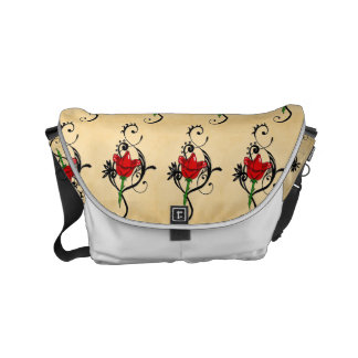 to flower red arabesque courier bag