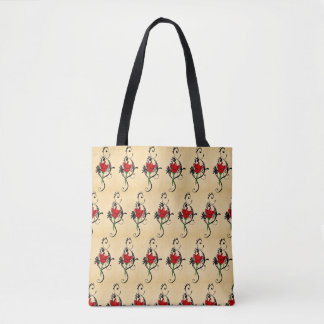 to flower red arabesque tote bag