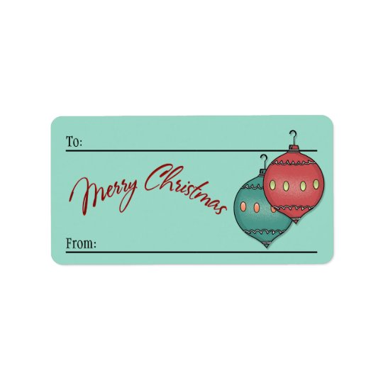To-From Sticky - Retro Glass Xmas Balls on Seafoam Label