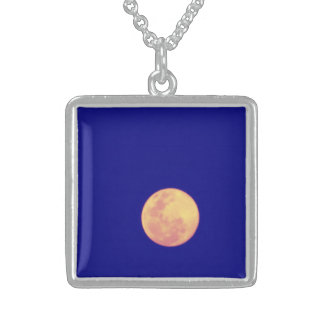 To glue Blue Moon Square Pendant Necklace