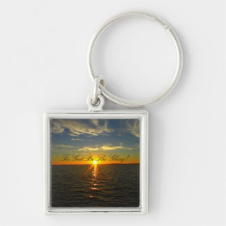 To God Be The Glory! - Lake Sunrise Silver-Colored Square Key Ring