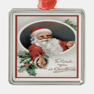 To Greet you at Christmas Silver-Colored Square Decoration