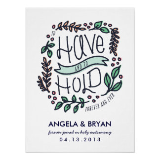 To Have and to Hold wedding date poster