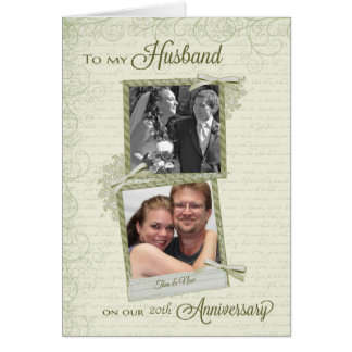 To Husband on __th Anniversary - Custom Then & Now Card