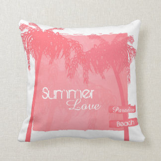 to kiss summer palm trees pink cushion