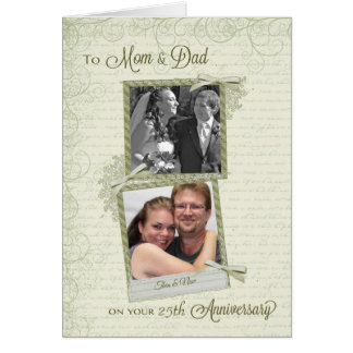 To Mom & Dad on __th Anniversary-Custom Then & Now Greeting Card