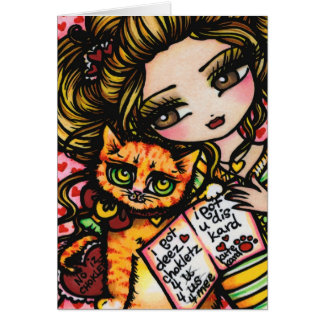 TO MOM FROM CAT Cute Comic Art by Hannah Lynn Card