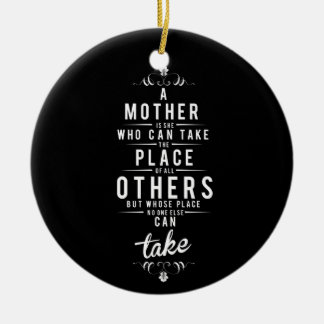 To Mother is she who dog take Round Ceramic Decoration