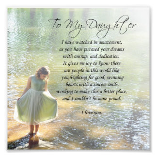 """To My Daughter"" Little Girl in Water Poem Print Photo"
