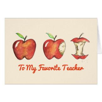 To My Favorite Teacher Red Apple School Education Card