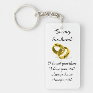 To my husband - engraved names - Poem + I love you Key Ring