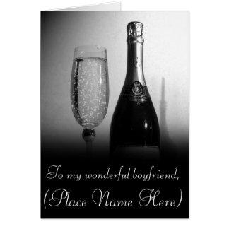 """To My Loving Boyfriend"" Champagne Valentine's Car Card"