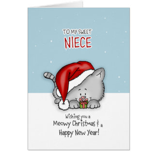 To my sweet niece - Cat Christmascard Card