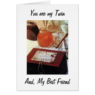 TO MY TWIN SISTER AND FAVORITE COOK ON BIRTHDAY CARD