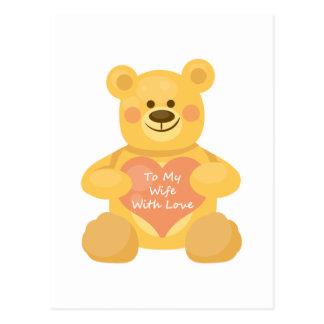 To My Wife with Love Bear Postcard