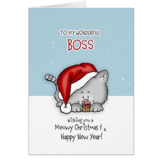 To my wonderful Boss - Cat Christmas card
