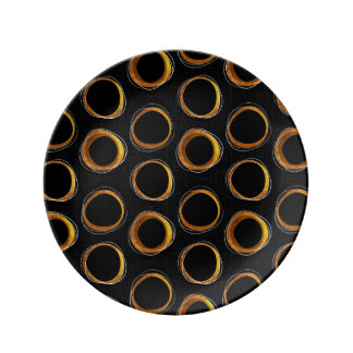 To pave Eclipse Mid-Century Modern Black & Gold Plate