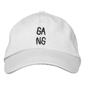 """To simple white CAP with the Word """"gang """""""