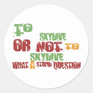 To Skydive Round Sticker