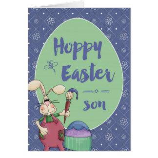 To Son, Hoppy Easter Bunny Artist painting egg Card