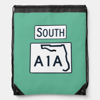 To South A1A sign backpack