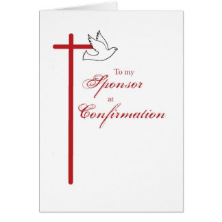 To Sponsor at Confirmation, Red Cross Card