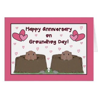 To Spouse, Happy Anniversary on Groundhog Day Card