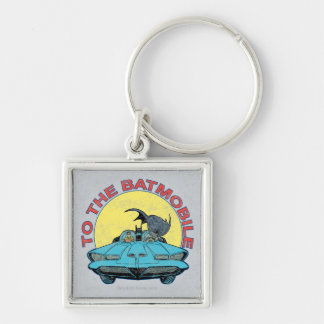 To The Batmobile - Distressed Icon Silver-Colored Square Key Ring